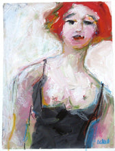 Load image into Gallery viewer, Black Corset, 9 x 12, Oil Painting on Paper