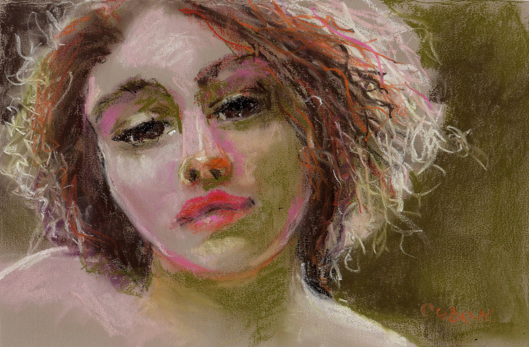 Pastel portrait of a woman, 6
