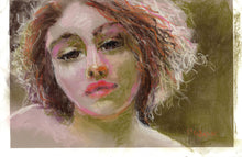 "Load image into Gallery viewer, Butterfly, Female Pastel Portrait, 6"" x 9"""
