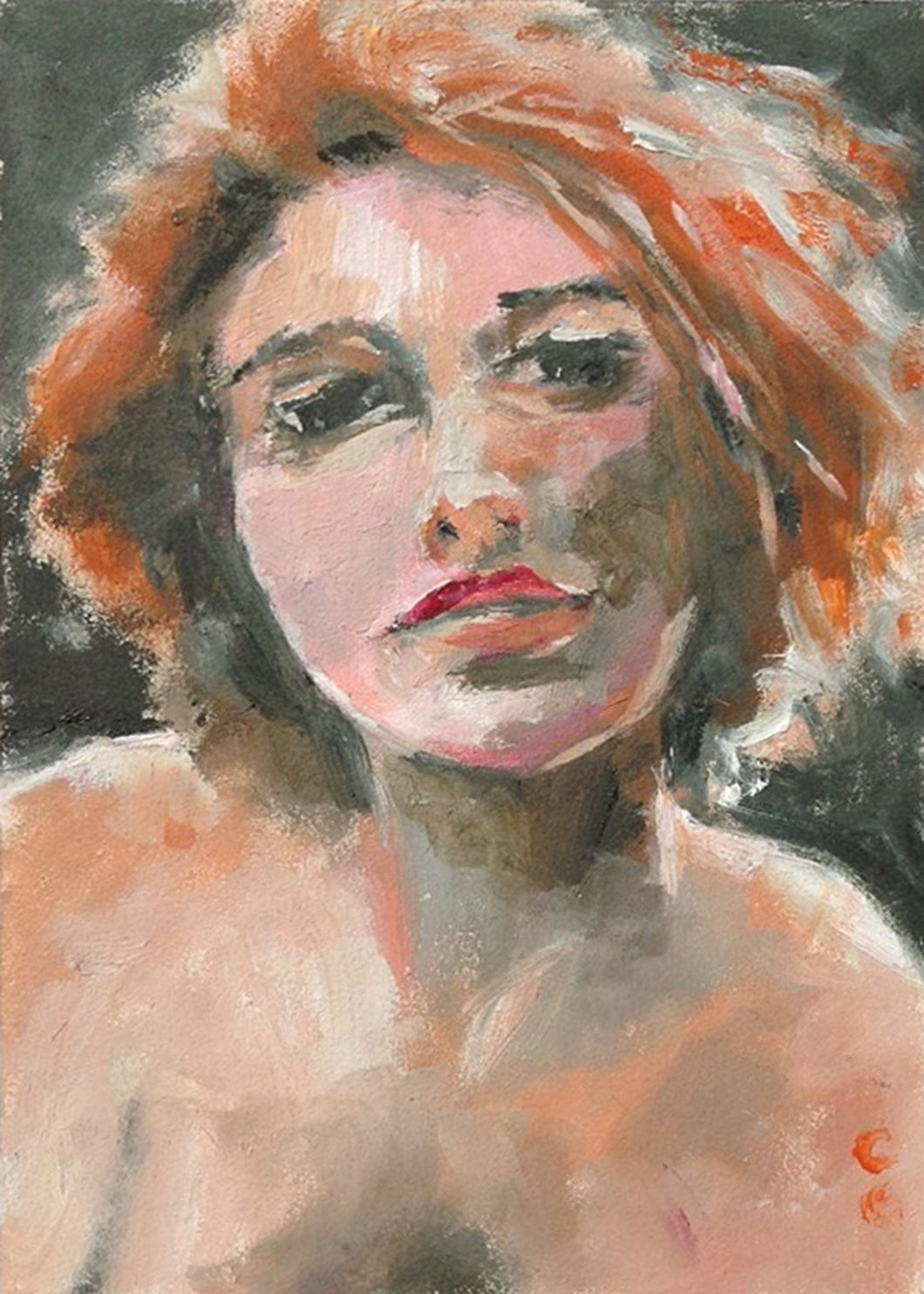 Red Head Female, Oil on Wood