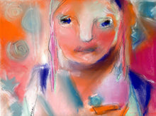 Load image into Gallery viewer, Abstract pastel portrait on sanded paper.