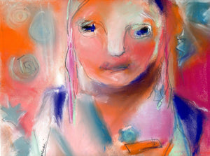 Abstract pastel portrait on sanded paper.