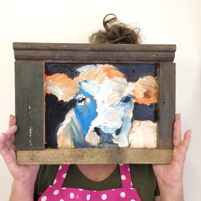 Cow painting in oil on wood by Corinne Galla