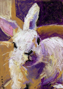Rabbit painting in dry pastel by Corinne Galla