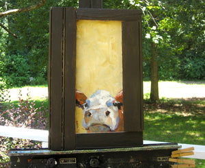 Chester, Oil Painting on Wood, Rustic Repurposed Barn Wood Frame
