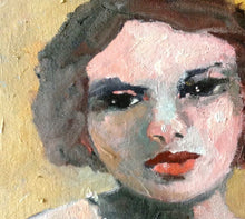 "Load image into Gallery viewer, Female oil portrait on a 6"" x 6"" canvas."