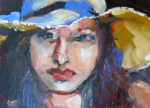 "Sunhat, Oil on Paper, 12"" x 9"""
