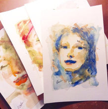 Load image into Gallery viewer, Watercolor portrait examples.