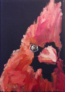 "Red Cardinal Oil Painting on Black Gesso Canvas, 5"" x 7"""