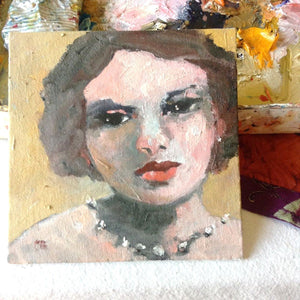 "Glamorous One, 6"" x 6"" Oil on Canvas Board"