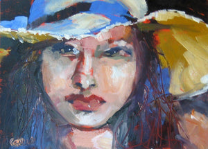 Woman in a sun hat, oil on paper.