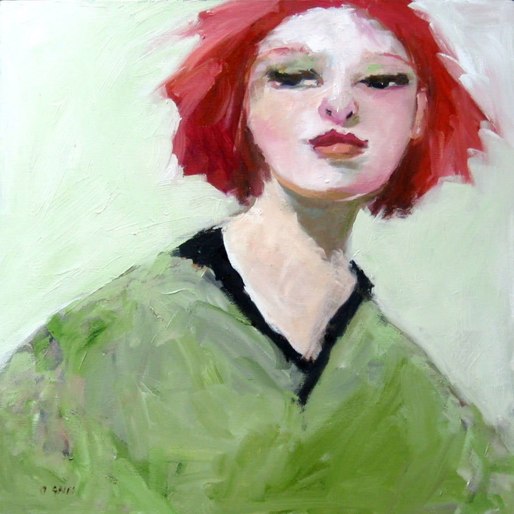 Contemporary red head in a green shirt by  Corinne Galla