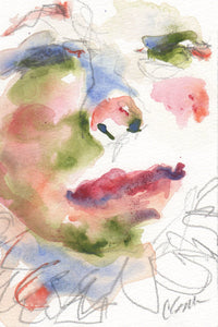Abstract watercolor portrait, pink and red colors.