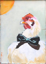 "Load image into Gallery viewer, Sassy Pants, Rooster in Oil on Wood Panel with Barn Wood Frame, 17"" x 14"""