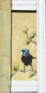 "Wild Bird, 26"" x 13"", Oil on Wood"