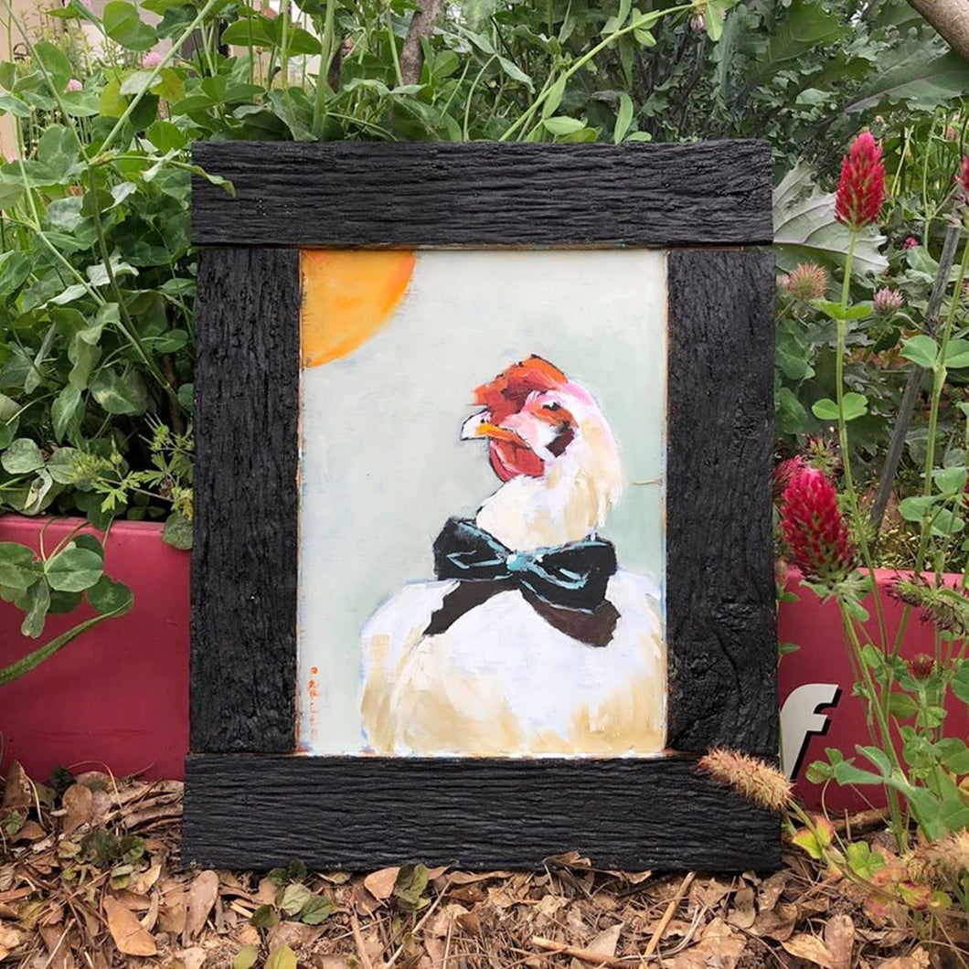 Rooster in oil paint by Corinne Galla