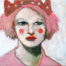 Load image into Gallery viewer, Textured oil painting of a woman in a pink hat by Corinne Galla