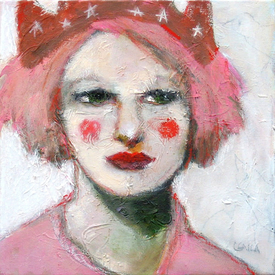 Textured oil painting of a woman in a pink hat by Corinne Galla