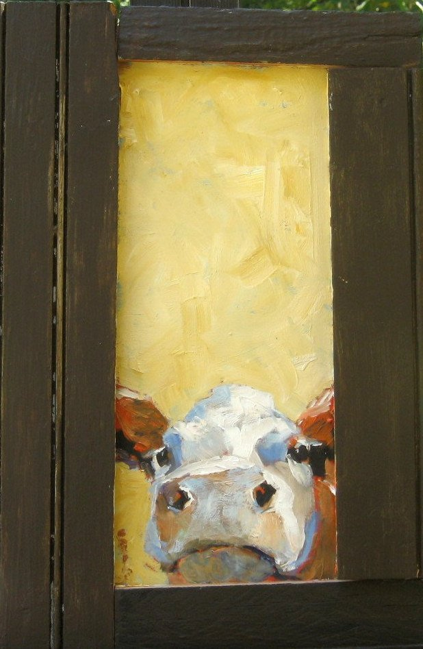 Brown and white cow, oil on wood panel.