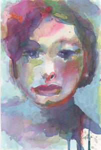 Mixed media original portrait by Corinne Galla