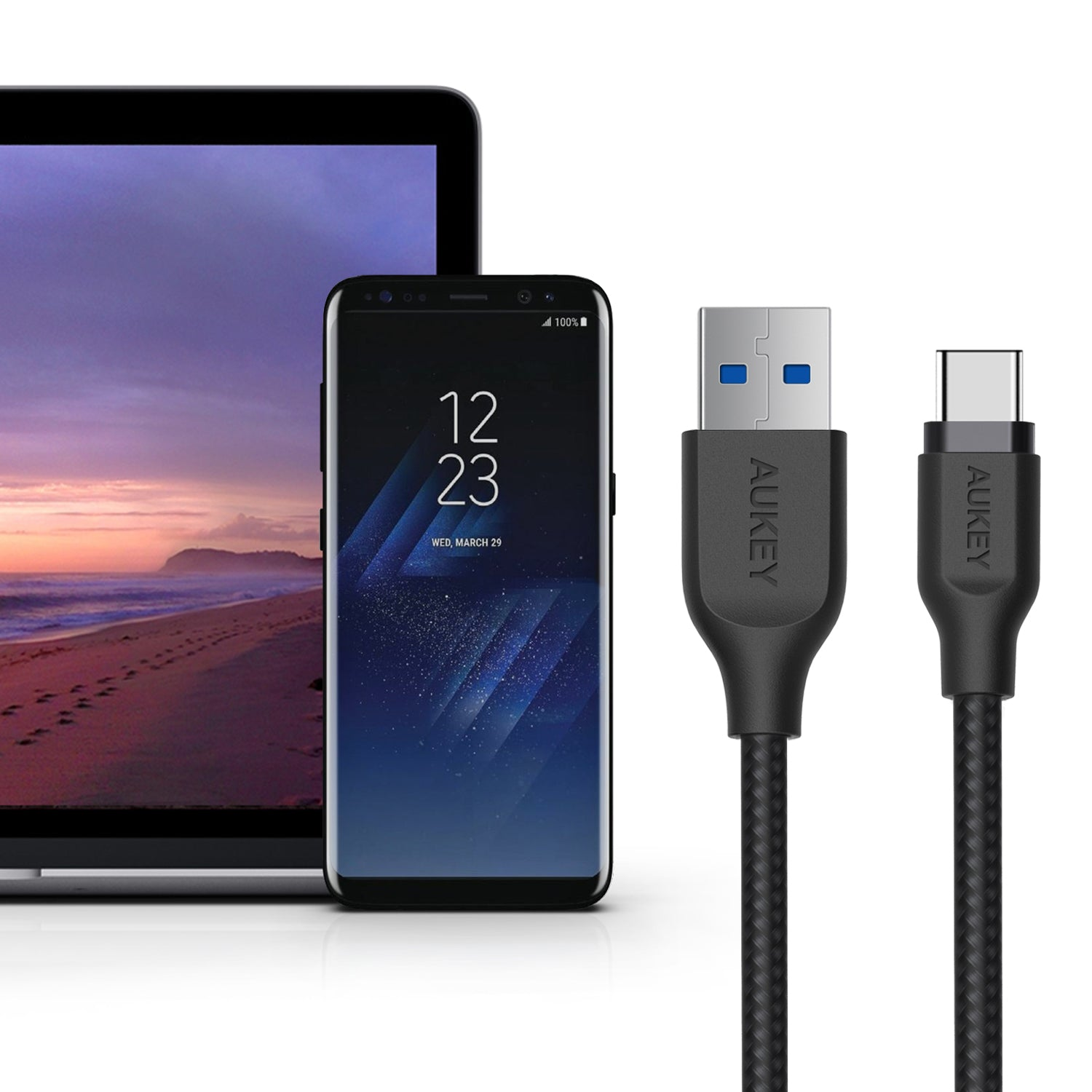 AUKEY Quality Braided Nylon USB3.1 gen1 USB-C Cable / CB-AC1Black / Cable