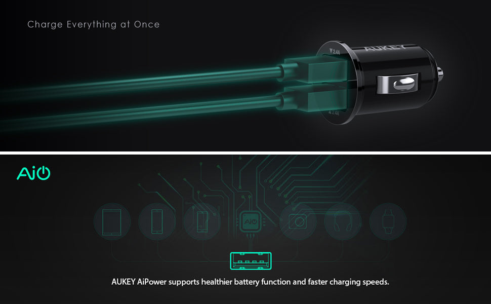 AUKEY CC-S1 Flush Fit AiPOWER 24W 4.8A Dual Port Car Charger