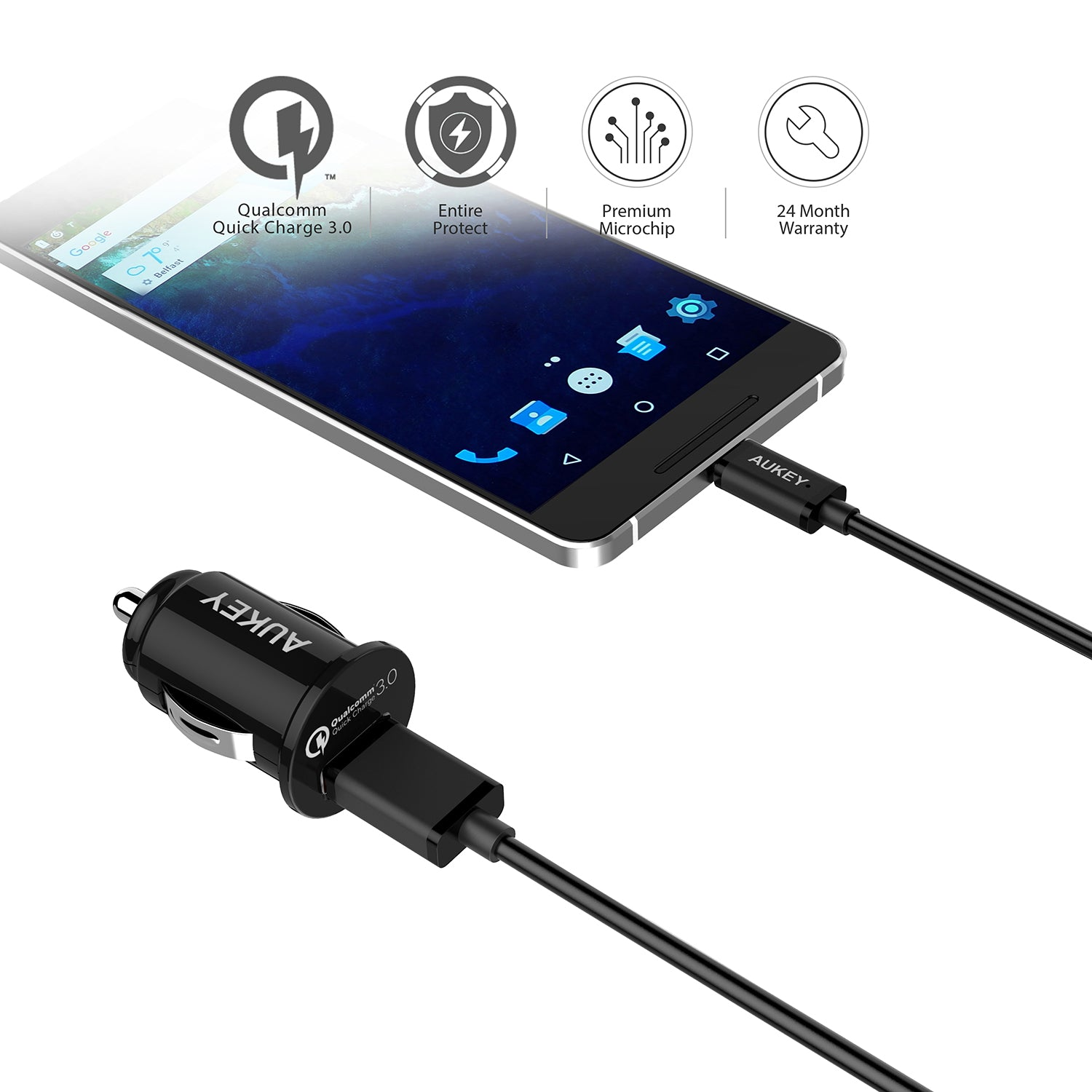 AUKEY CC-T13 1-Port 18W Quick Charge3.0 with Car Charger