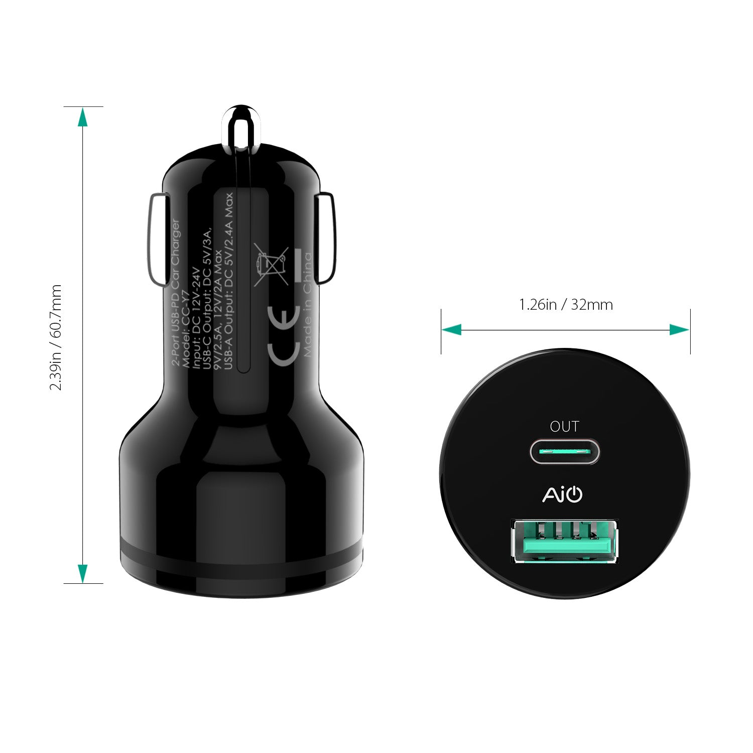 AUKEY CC-Y7 Type-C PD2.0 2-Port 36W AiPower Car Charger