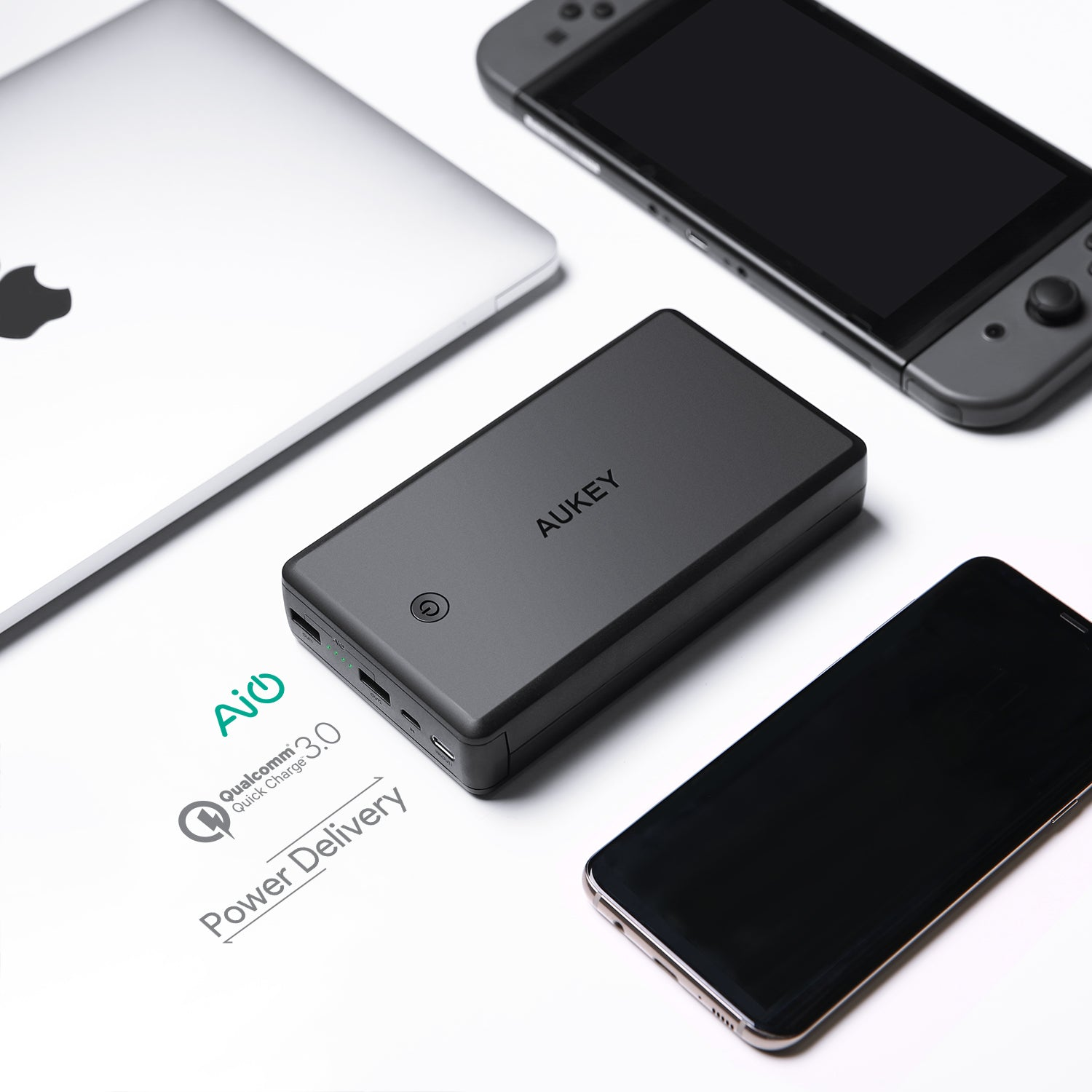 AUKEY PB-Y7 30000mAh USB-C Power Bank with Power Delivery