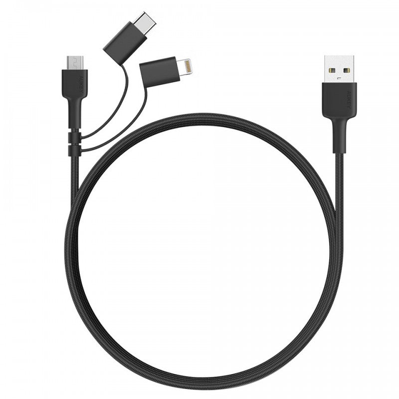 AUKEY CB-BAL5 3 In 1 MFI Lightning Cable With Micro USB & USB C Cable