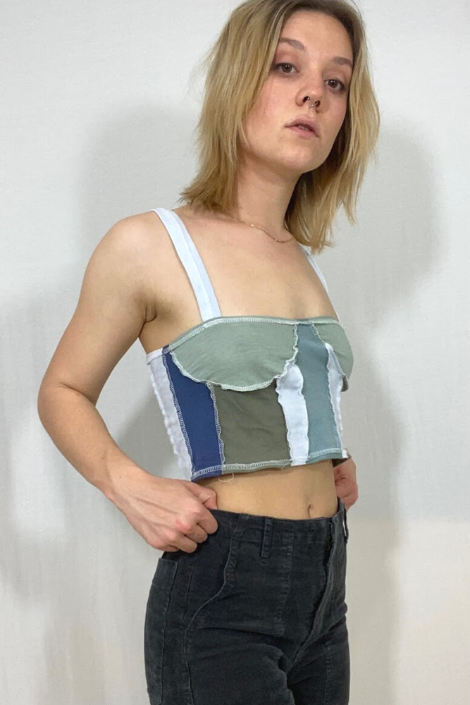 Pod Two Top- Upcycled Corset Style Crop Top