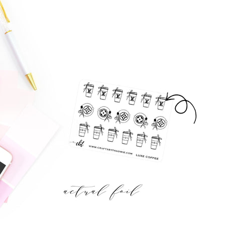 Luxe Coffee Foiled Bow Icons Sticker Sheet