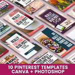 10 Pinterest Canva + Photoshop Templates | Editable Pin Design Templates for Canva and Photoshop