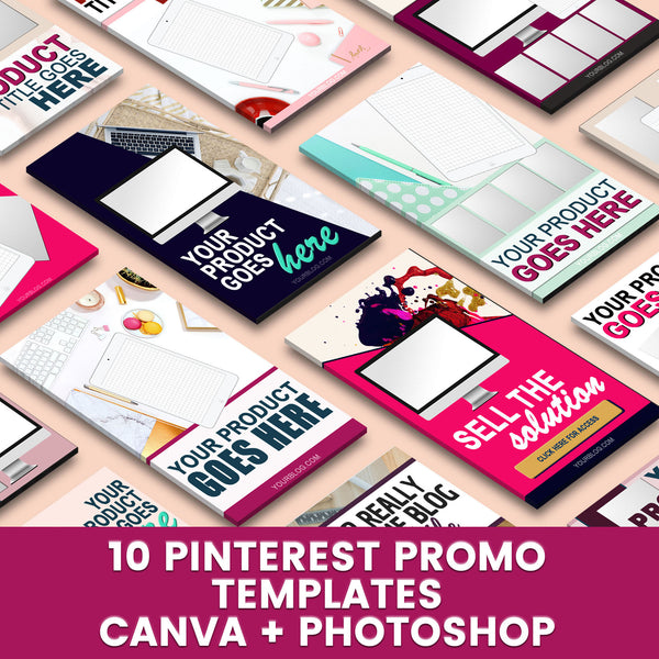 10 Pinterest Canva + Photoshop Templates for Product Promotion | Editable Pin Design Templates for Promotional Graphics