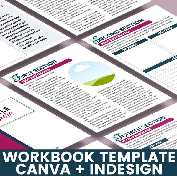 Editable Workbook Template | Worksheet and Workbook Template for Canva and Adobe InDesign