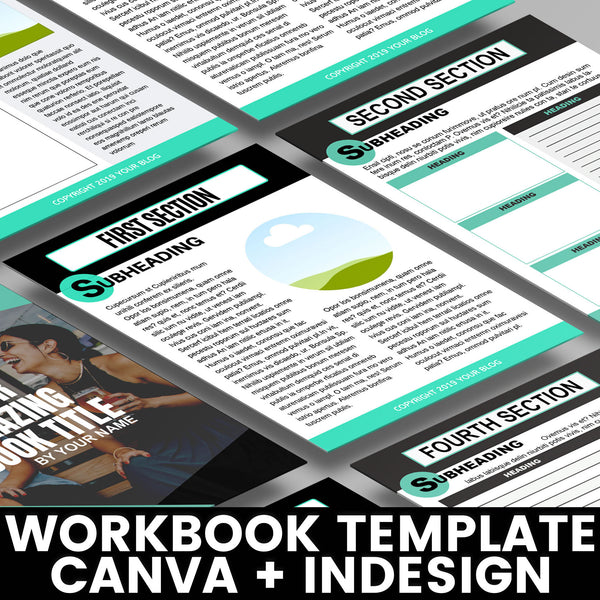 Editable Workbook Template: Modern | Worksheet and Workbook Template for Canva and Adobe InDesign Active