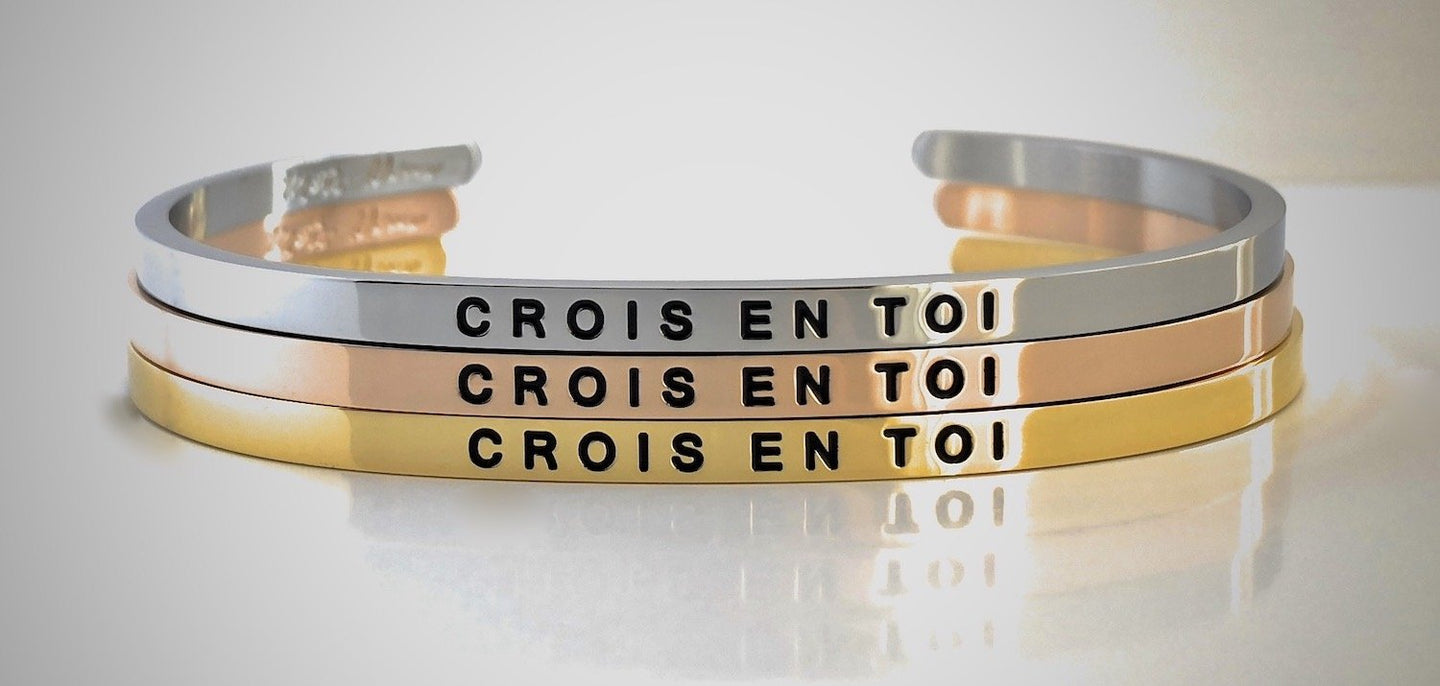 Bracelet crois en toi inspirational motivation French message mantraband