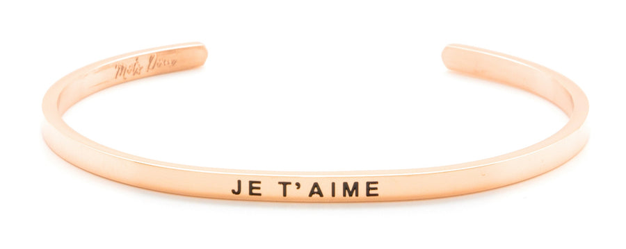 Inspirational French Mantra Cuff Bracelets 💙  JE T'AIME 💙  I LOVE YOU