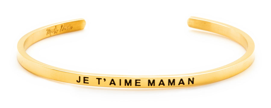 Inspirational French message bracelet, with Mots Doux, wear your French inspiration daily! Cute cuff reminder engraved with French words of positivity and encouragement. Minimalist, elegant bracelet promoting an optimism and positive lifestyle. Be different, be unique say it in French. CROIS EN TOI, BELIEVE IN YOURSELF_JE T'AIME MAMAN _LOVE YOU MOM_French mantra.