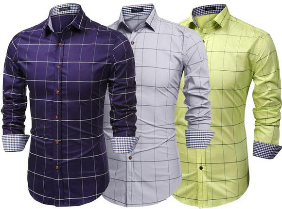 Combo of 3 New Patchwork classic long sleeves Slim Fit Casual man's Shirts