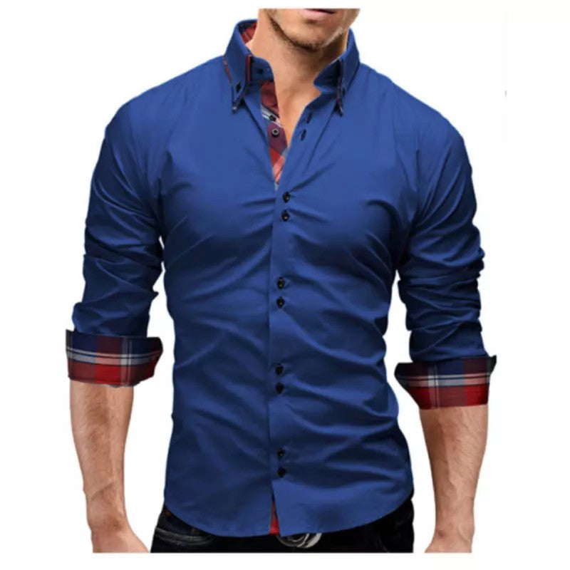 254ceb0a9 ... Branded Combo of 3 Lapel Fine Plaid Printed Slim Fit Men's Leisure  Shirts ...