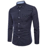 Fashion Model Slim Lattice Long Sleeved Shirt