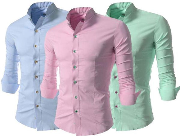 Combo of 3 Classic pure color mandarin collar young boys slim fit men's shirts