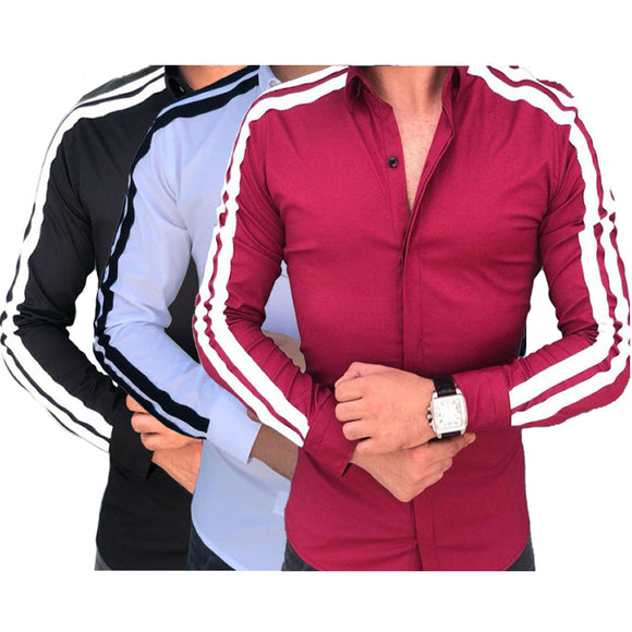 Men Long Sleeve Pull Over Collar Fashionable Casual Shirt