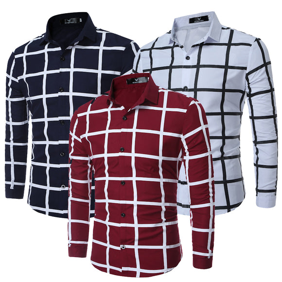 Generic Men Slim Fit Button Down Cotton Plaid Long Sleeve Shirt