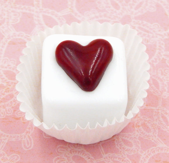 White Chocolate Cube Heart