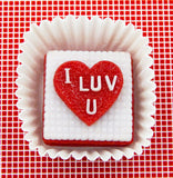 """I Luv U"" Heart Petit Four"