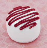 White Chocolate with Cherry Red Drizzle