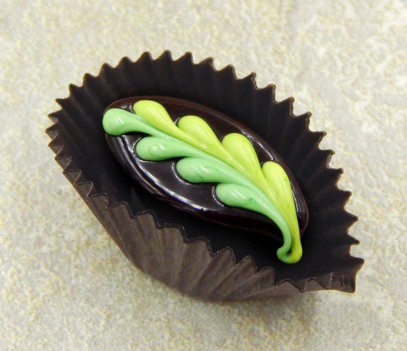 Chocolate with Mint & Pistachio Fern Design