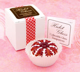 White Chocolate Treat with Cherry Red Design